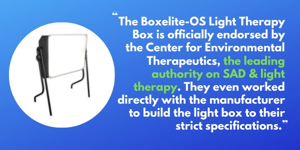 Northern Light Technology Boxelite-OS Bright Light Therapy Box helps with SAD and Winter Blues and is recommended by the Center for Environmental Therapeutics