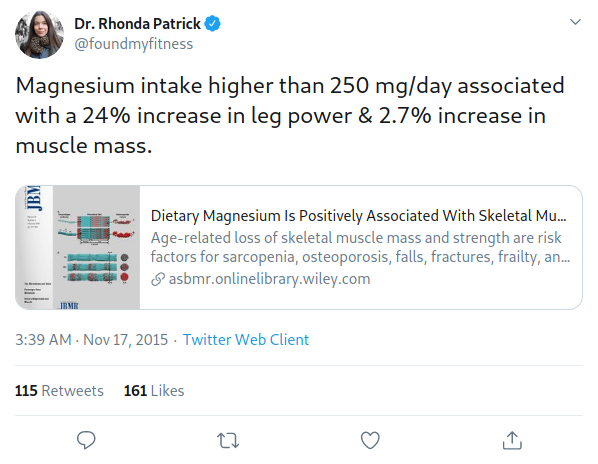 Dr Rhonda Patrick on Twitter discussing the performance benefits of magnesium in leg power and muscle mass