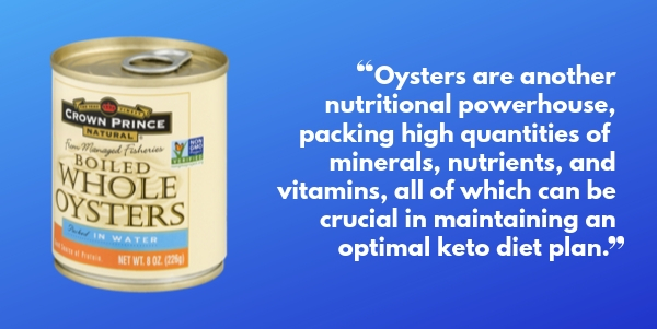 Crown Prince Natural Boiled Whole Oysters for Keto and overall health