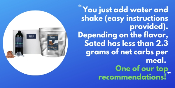 Sated formerly Ketolent Naturally sweetened keto meal shake meal replacement